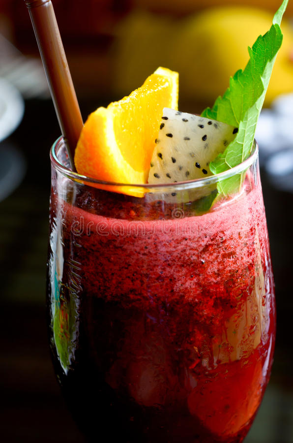 Berry smoothie and lemon royalty free stock photo