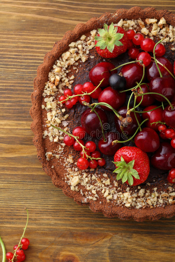 Berry summer pie on wood. Food closeup stock image