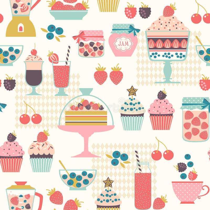 Berry sweets pattern royalty free illustration