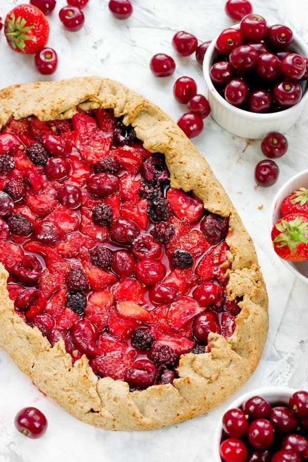Berry Tart Galeta dietetico della segale con le bacche di estate Torta con lo streptococco fotografia stock libera da diritti