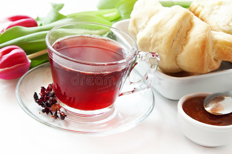 Berry Tea Transparent Cup royaltyfri fotografi