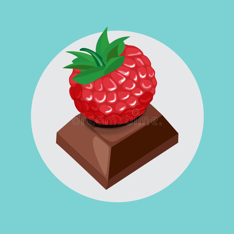 Berry on top of chocolate piece. Flat design stock illustration