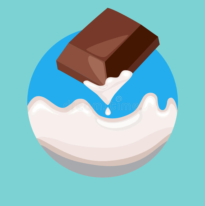 Berry on top of chocolate piece. Flat design vector illustration