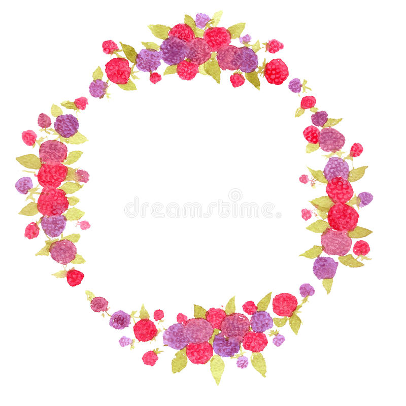 Berry wreath. berries.Fresh berries. watercolor wreath. vector illustration