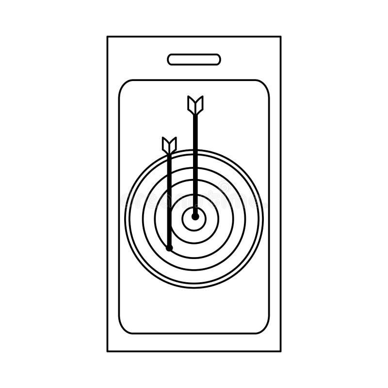 Bersaglio dell'obiettivo sullo smartphone in bianco e nero illustrazione vettoriale