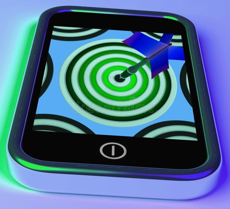 Bersaglio su Smartphone che mostra i giochi online di tiro con l'arco illustrazione di stock