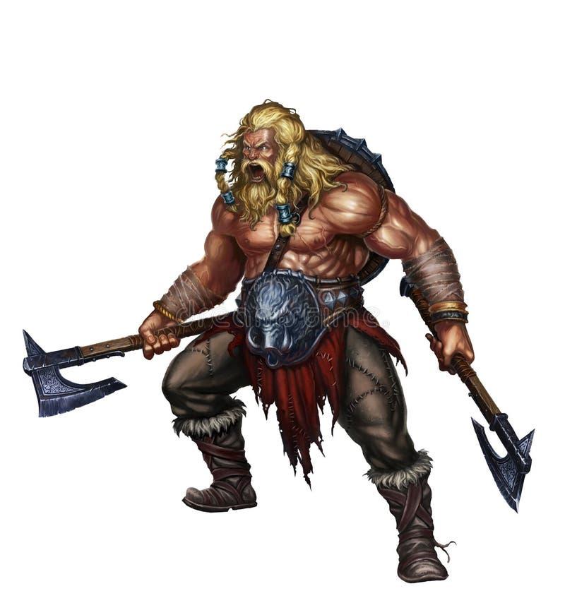 Berserker di Viking su bianco illustrazione di stock