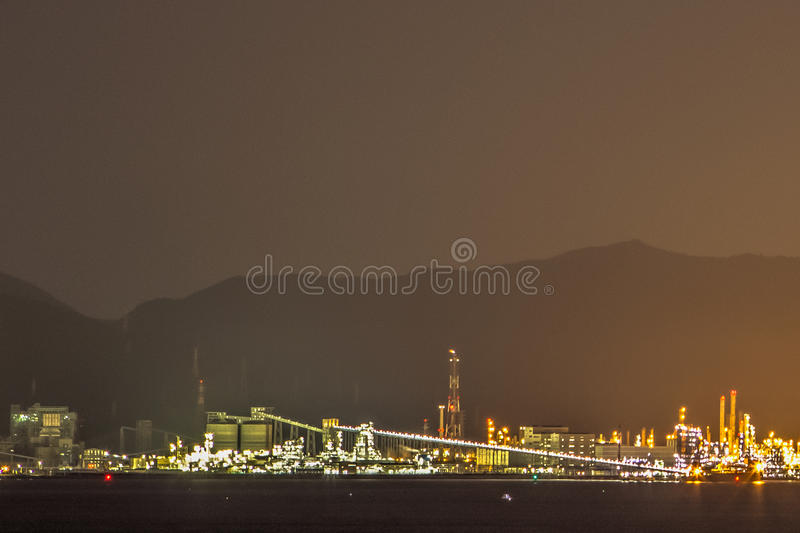 At Berth 7. Photo taken while vessel is at berth in Kwangyang, South Korea Container Terminal. View of the industrial area royalty free stock photo