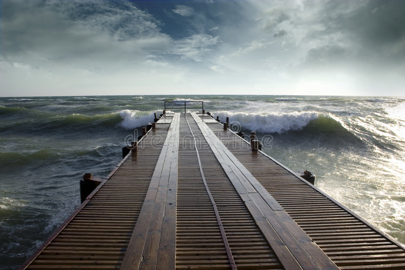 Berth during the storm royalty free stock photography