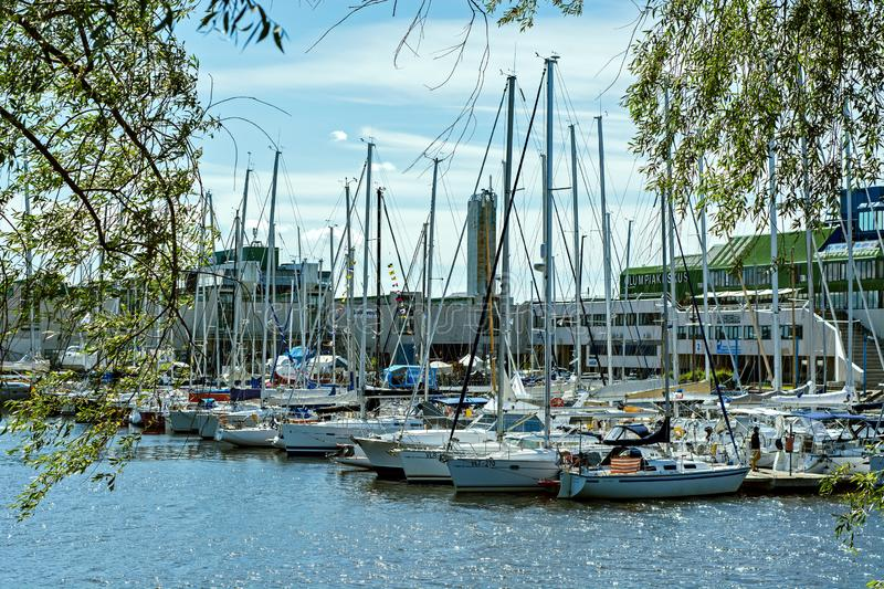 Berth with yachts. Tallinn, Estonia, June 29: Many yachts standing on a pier in the port of Tallinn, June 29, 2019 stock photography