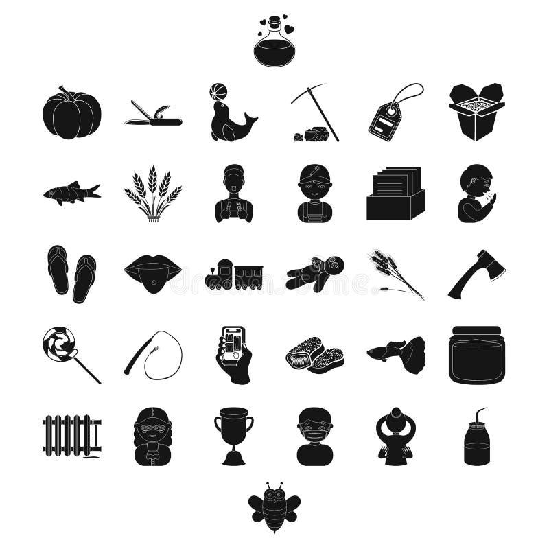 Beruf, Lebensmittel und andere Netzikone in der schwarzen Art Klempnerarbeit, Werkzeug, Mannikonen in der Satzsammlung lizenzfreie abbildung