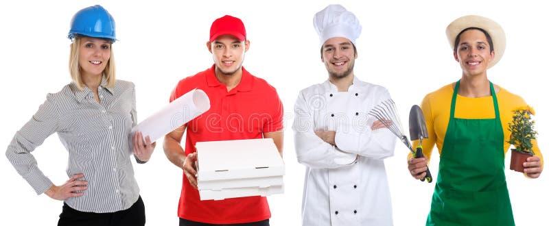 Berufgeschäftskarriere der jungen Leute des Lehrberufs lokalisiert auf Weiß lizenzfreies stockfoto