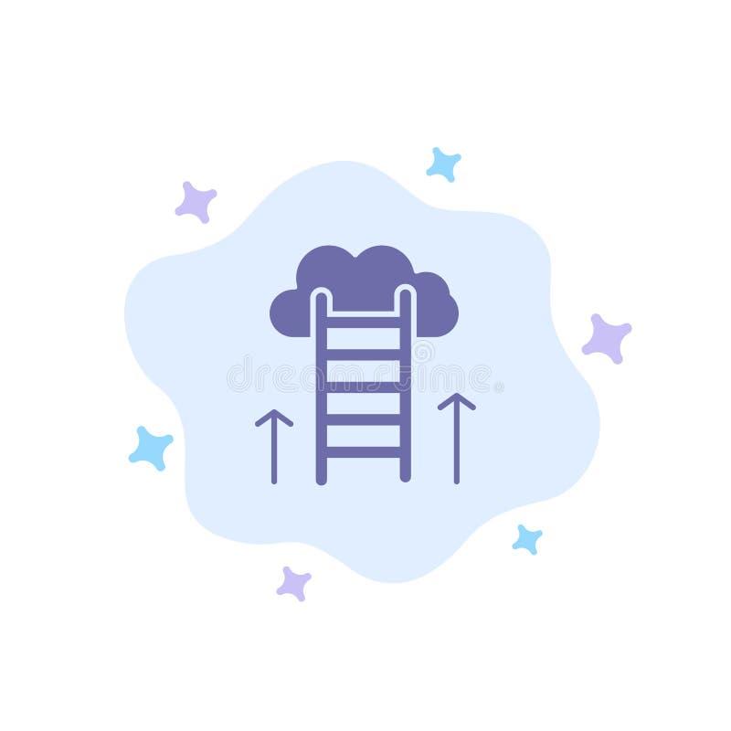 Beruflicher Weg, Karriere, Traum, Erfolg, Fokus-blaue Ikone auf abstraktem Wolken-Hintergrund stock abbildung