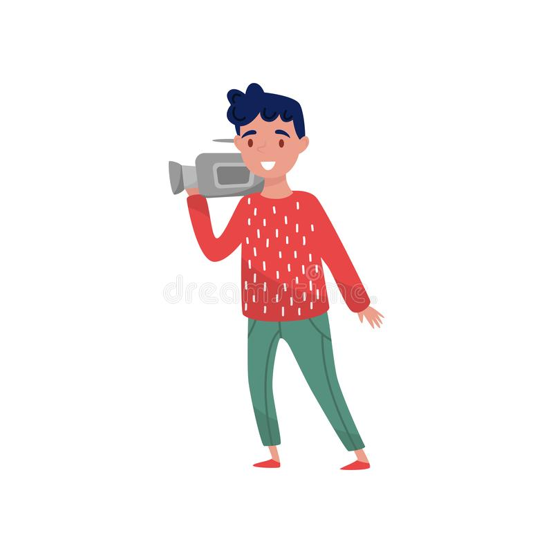 Berufs-videographer mit Kamera Junger Kerl mit glücklichem Gesichtsausdruck Zeichentrickfilm-Figur des Kameramanns Flacher Vektor stock abbildung