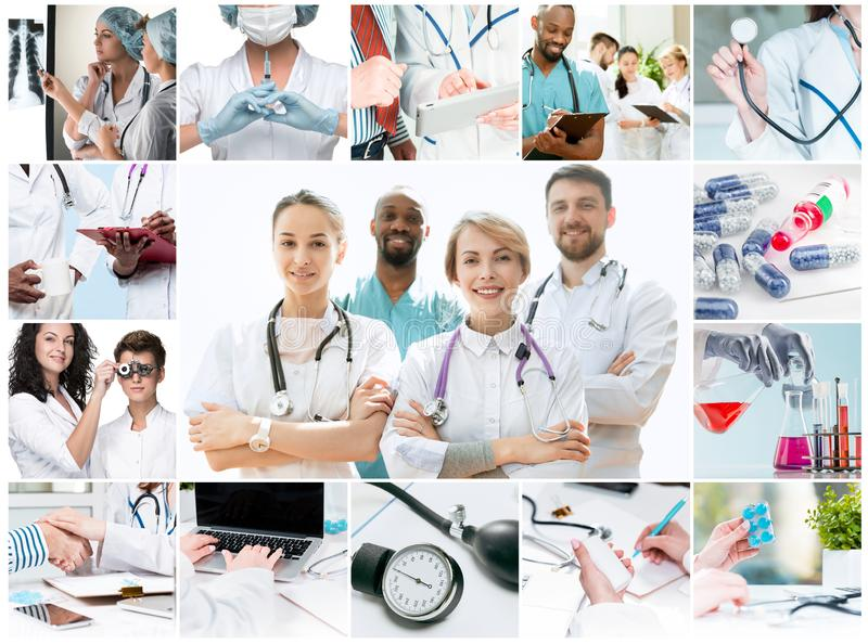 Berufsdoktoren, die im Krankenhausb?ro oder -klinik arbeiten stockfotos