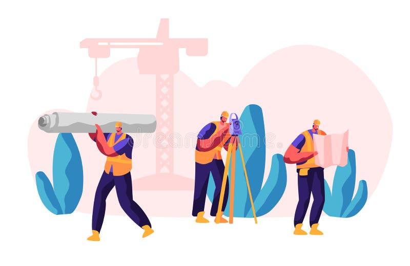 Berufserbauer im Prozessbau Arbeiter Carry Material f?r Gestalt-Arbeit Mann mit waagerecht ausgerichtetem Ma?-Abstand ingenieur stock abbildung