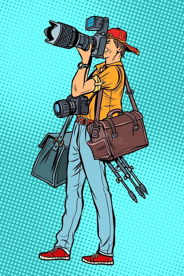 Berufsfotograf mit Kamera und Ausrüstung lizenzfreie abbildung
