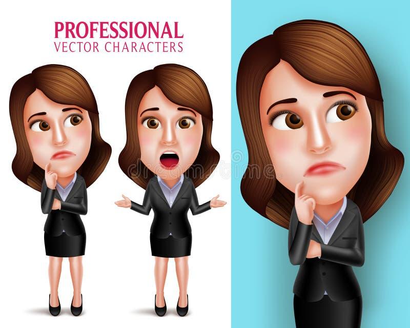 Berufsfrauen-Charakter mit Geschäfts-Ausstattung denkend oder verwirrt vektor abbildung