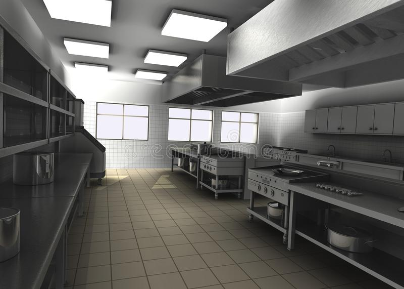 Berufsgaststättekücheinnenraum stock abbildung