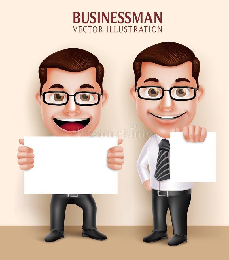Berufsgeschäftsmann-Charakter, der weißes leeres Papier für Mitteilung hält stock abbildung