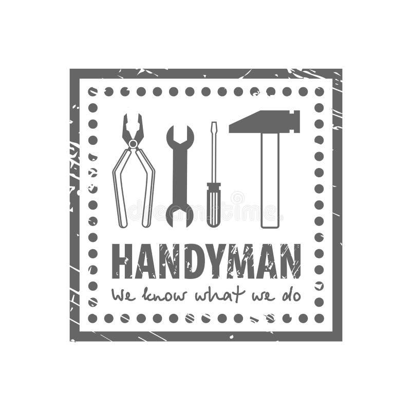 Berufsheimwerker h?lt Logo instand Stempelschmutzrahmen mit Werkzeugen auf weißem Hintergrund Satz Reparaturwerkzeuge stock abbildung