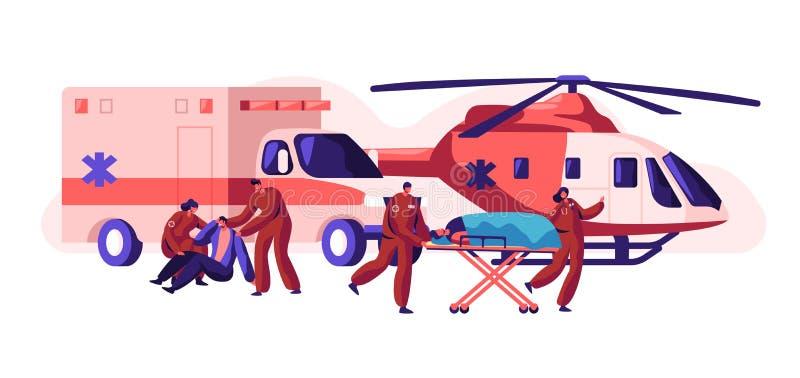 Berufskrankenwagen Team Care Ihre Gesundheit Schneller Transport-, Hubschrauber-und Auto-Gesundheitswesen-Charakter vom Unfall stock abbildung