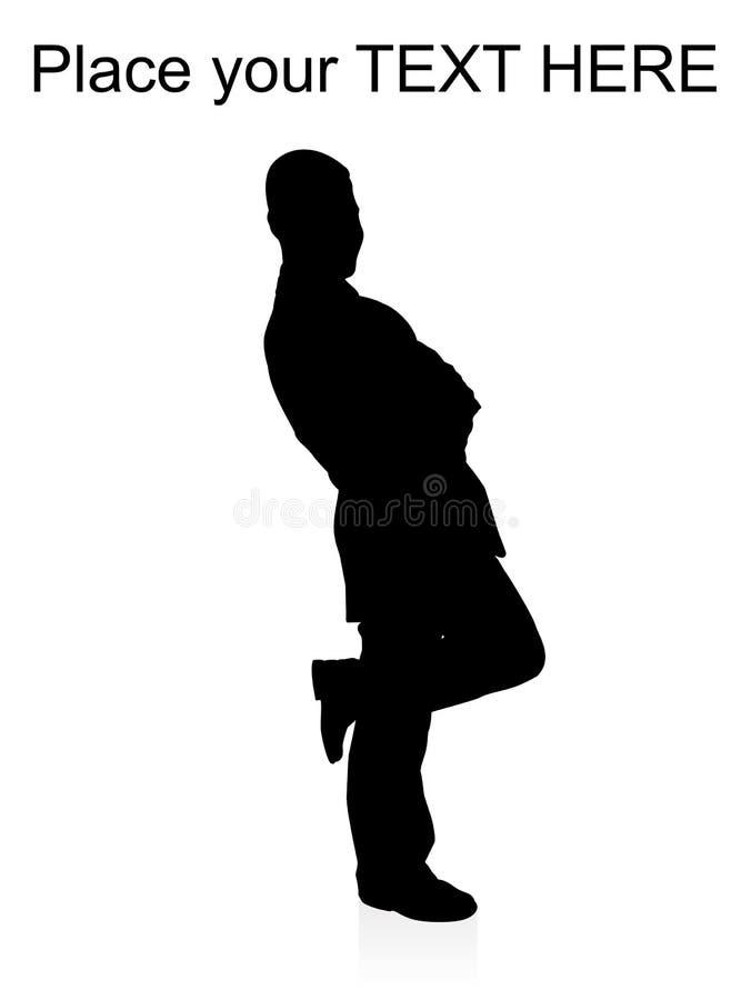 Berufsmann, der auf seinem einem Fahrwerkbein steht vektor abbildung