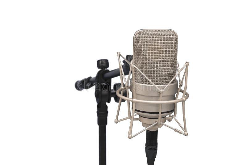 Berufsmikrofon mit großer Membran auf Weiß lokalisierte b stockbilder