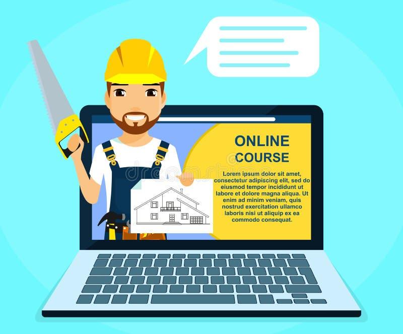 Berufson-line-Kurse des Baus und der Reparatur Erbauer mit einer Säge in seiner Hand, annonciert on-line-Kurse Ausbildung und vektor abbildung