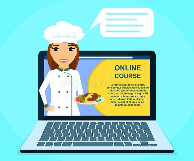 Berufson-line-Kurse von kulinarischen Fähigkeiten Chef des jungen Mädchens mit Teller in der Hand Erziehung und Ausbildung online vektor abbildung
