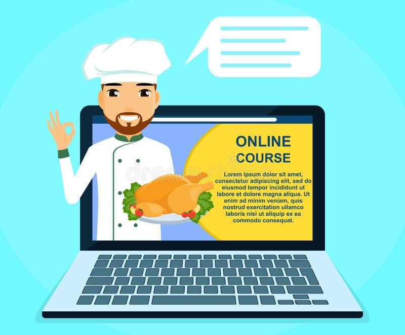 Berufson-line-Kurse von kulinarischen Fähigkeiten Chef mit Teller in der Hand Erziehung und Ausbildung online stock abbildung