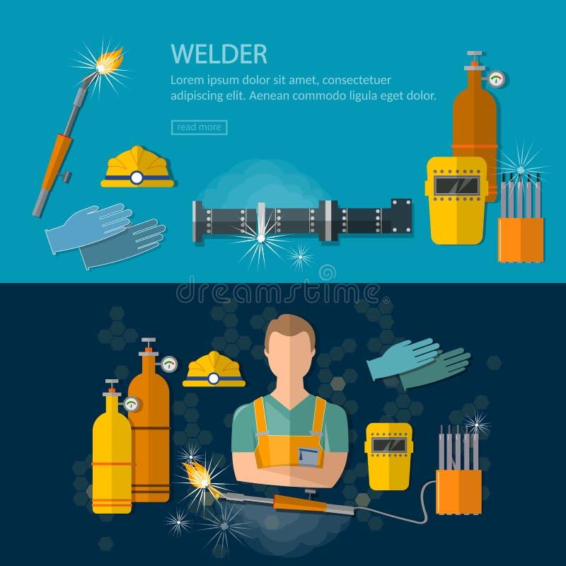 Berufsschweißerfahnen, die Werkzeuge und Ausrüstungsvektor schweißen lizenzfreie abbildung