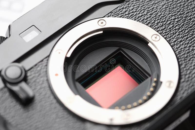 Berufssensor der Digitalkamera-APS-C und Linsenberg Makro, stockfotografie