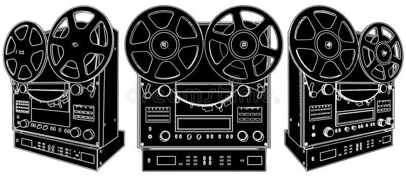 Berufsstereomagnetband- für Tonaufzeichnungenplattform-Schreiber lizenzfreie abbildung