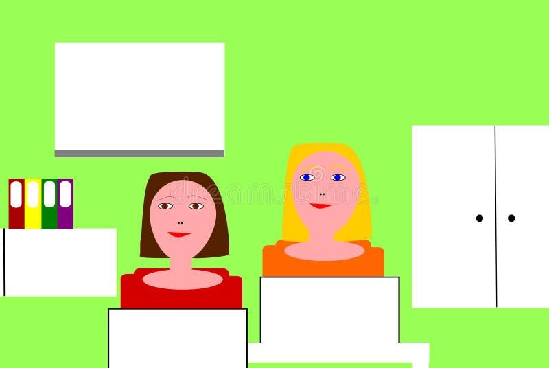 Berufstätige Frauen in einem Büro vektor abbildung