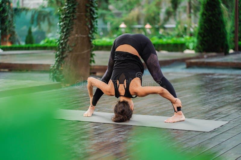 Berufsturnereignungslehrer, der Uttanasana barfuß steht auf Yogamatte tut Flexibles Frauenausdehnen stockbilder