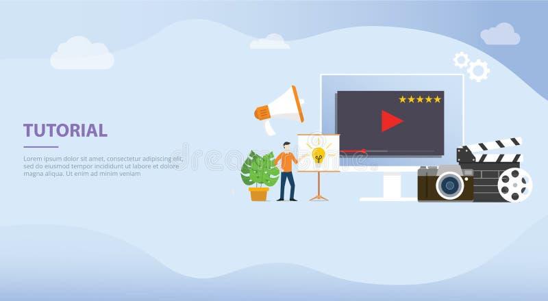Berufstutorausbildungsentwicklungs- oder Schaffungskonzept mit Mannleuten für Websiteschablonenfahne oder Landungshomepage - vektor abbildung