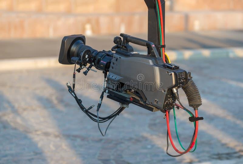 Berufsvideokamera auf Kran stockfoto
