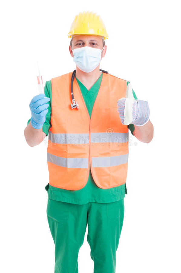 Berufswahlkonzept als Doktormediziner oder -erbauer stockfotografie