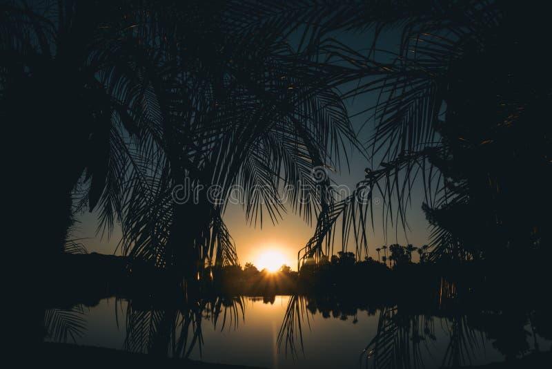 Beruhigendes Bild der Sonnenuntergangentspannungs-Kunst lizenzfreies stockfoto