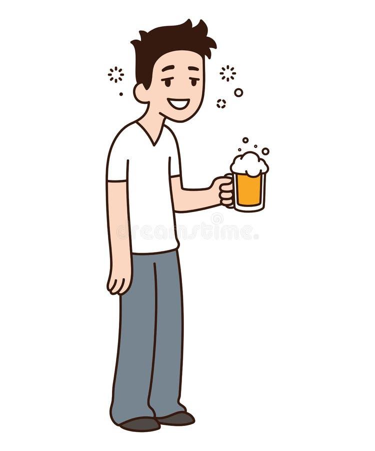 Berusad grabb med öl royaltyfri illustrationer