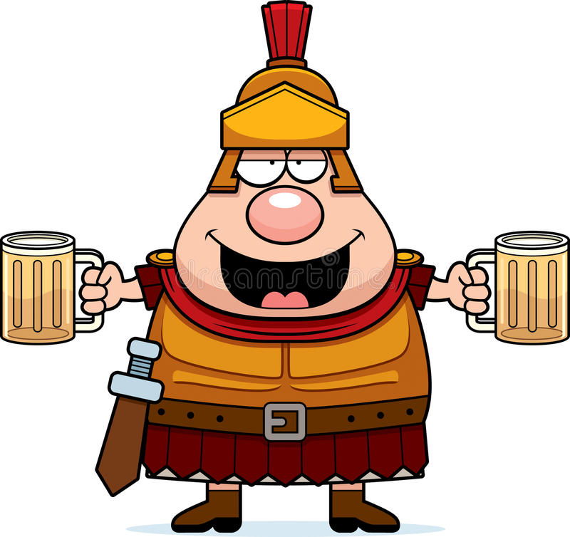 Berusad tecknad film Roman Centurion royaltyfri illustrationer