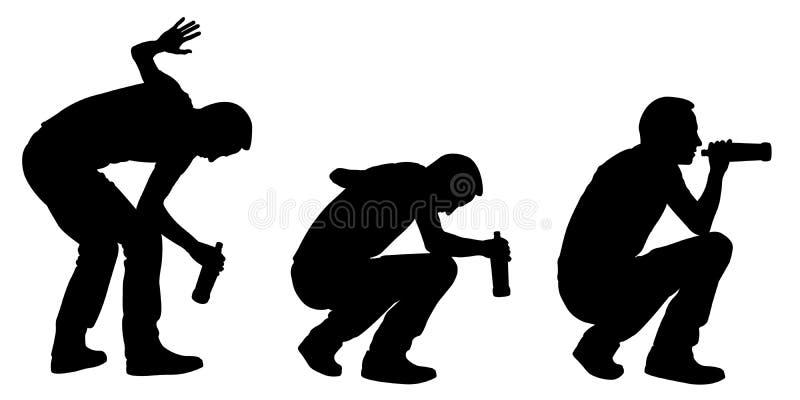 Berusade män med flaskan royaltyfri illustrationer