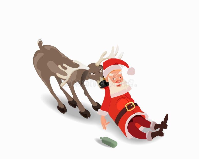 Berusade Santa Claus med en hjort Anti-alkoholadvertizing royaltyfri illustrationer