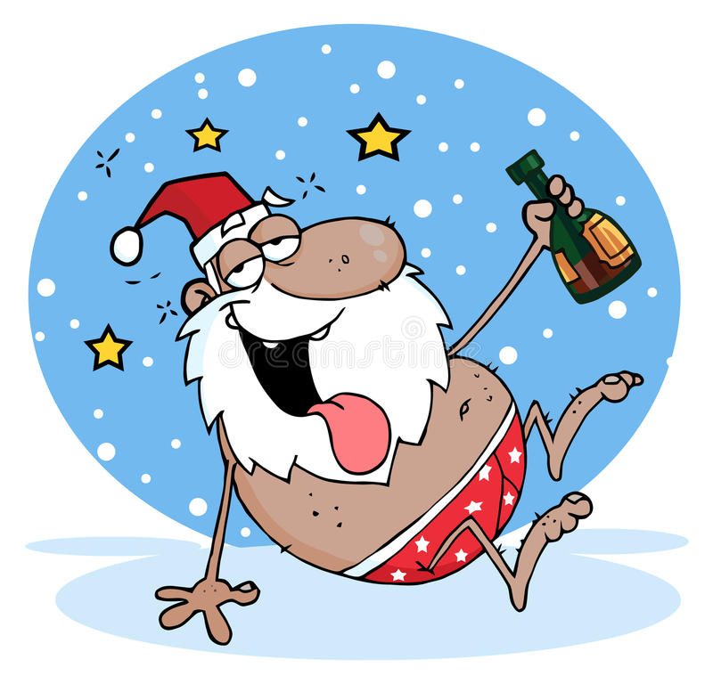 Berusade svarta santa stock illustrationer