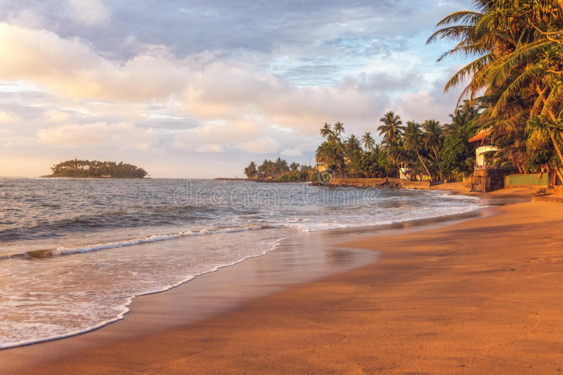 Beruwala, Sri Lanka. Sunset at Sandy Beach with Palm Trees on the Coast of Indian Ocean near Beruwala, Sri Lanka royalty free stock photo