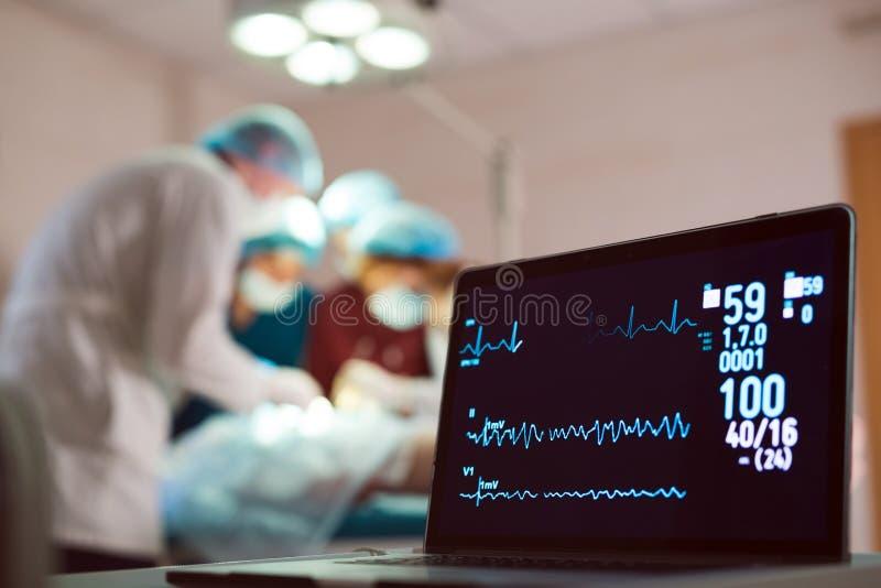 ?berwachung von ECG und von S?ttigung O2 bei dem Patienten im Operationsraum lizenzfreie stockfotos