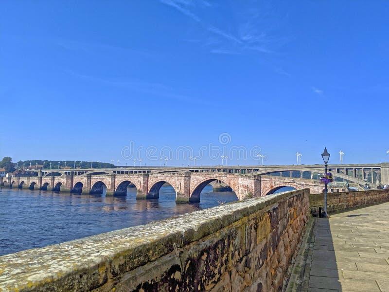 Berwick Upon Tweed bridges from Quay Walls stock photo