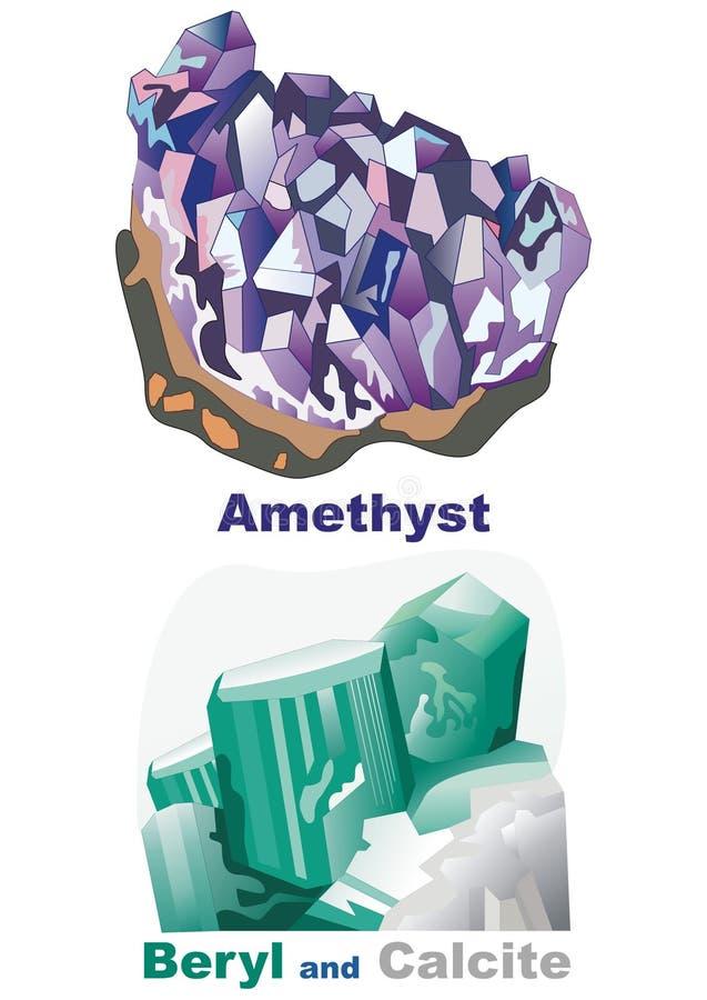 Beryl e calcite amethyst de cristal minerais ilustração royalty free