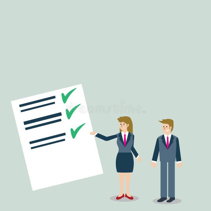 ?berzeugter Mann und Frau im Anzug, der Daten-Bericht ?ber Farbbrett steht, gestikuliert und vorlegt kreativ stock abbildung